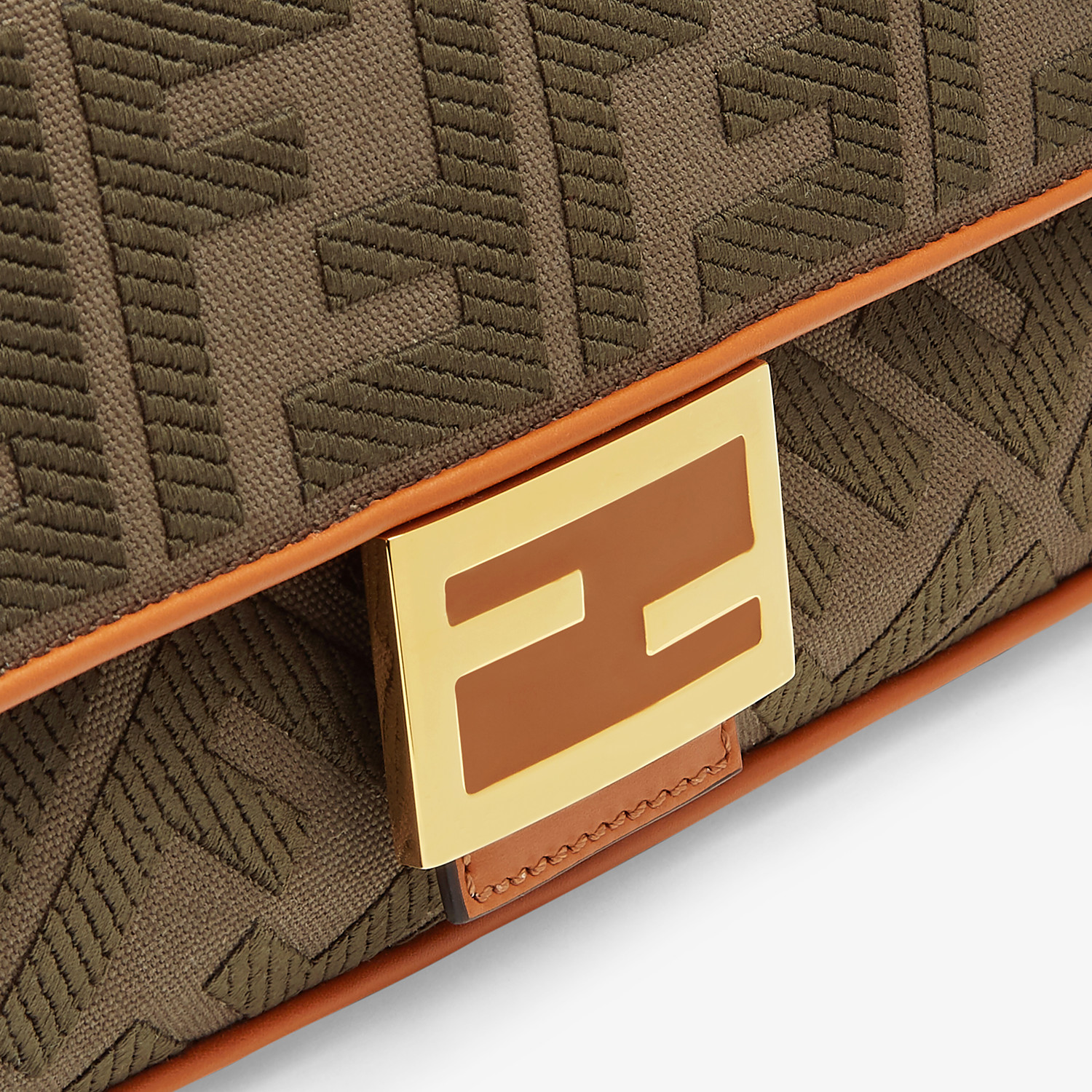 FENDI BAGUETTE - Green canvas bag - view 6 detail