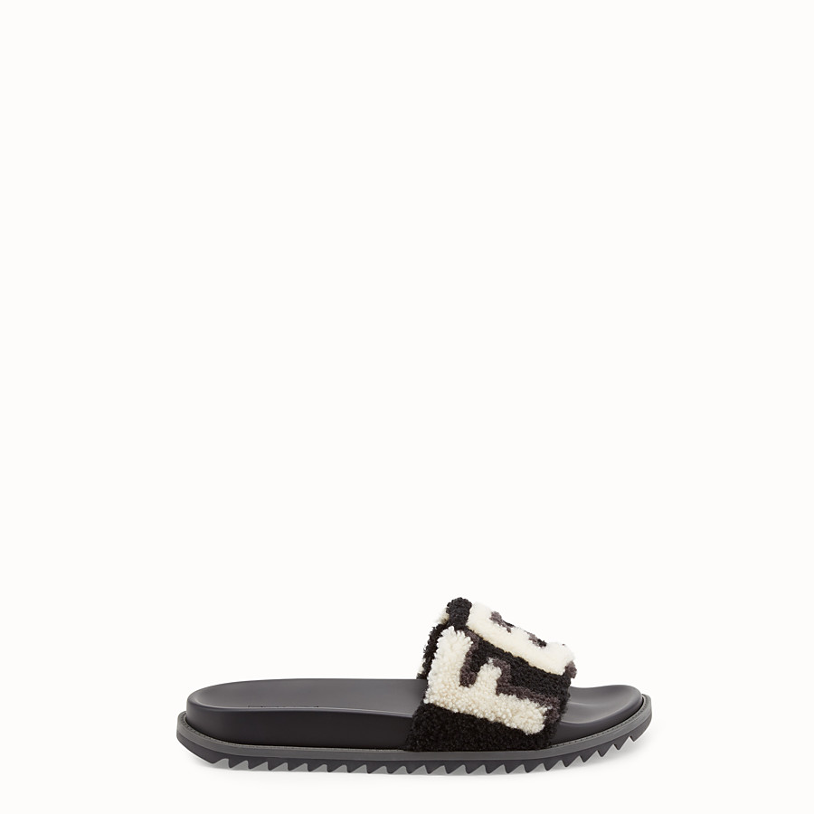 FENDI SLIDES - Black sheepskin slides - view 1 detail