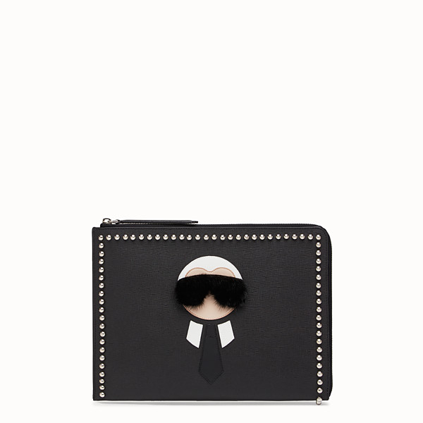 FENDI KARLITO FLAT CLUTCH - in black leather with inlay - view 1 small thumbnail