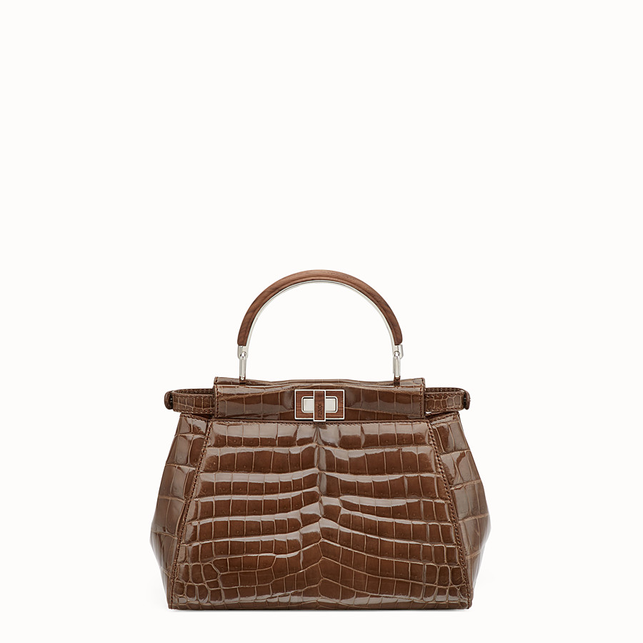 FENDI PEEKABOO MINI - Sac en crocodile marron - view 3 detail