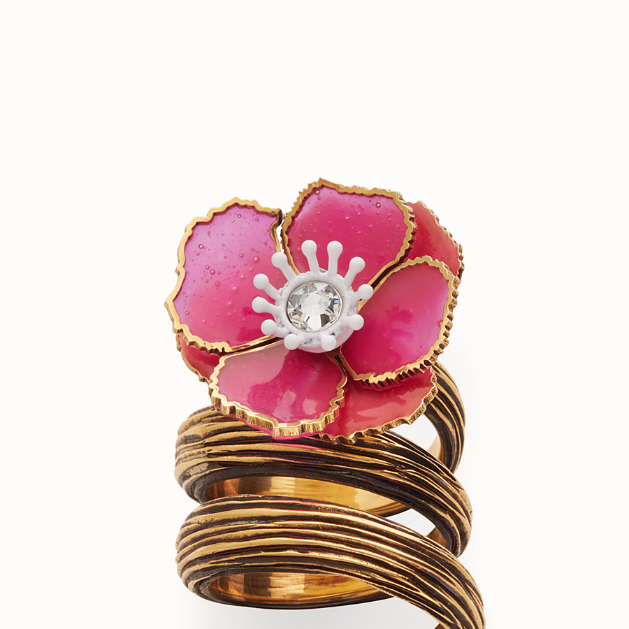 FENDI FLOWER RING - Fuchsia enameled ring - view 2 detail
