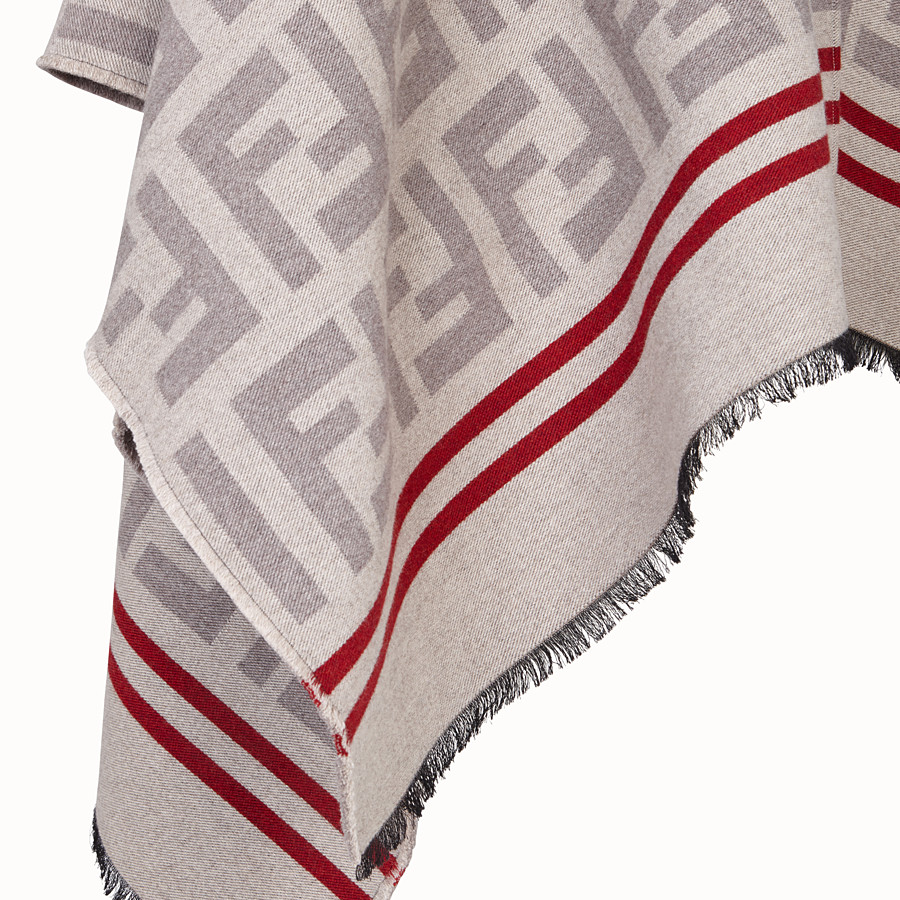 FENDI FF PONCHO - Poncho in beige wool and silk - view 3 detail