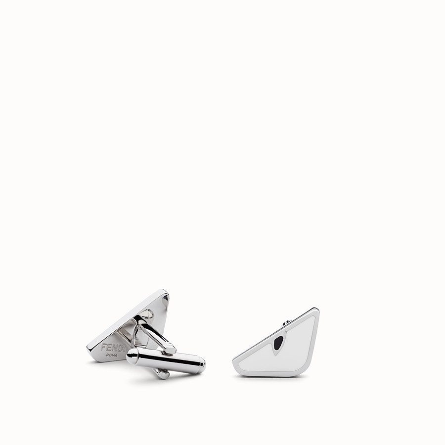 FENDI CUFFLINKS - in white enameled metal - view 1 detail