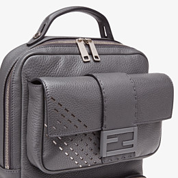 FENDI BACKPACK - Grey calf leather backpack - view 4 thumbnail