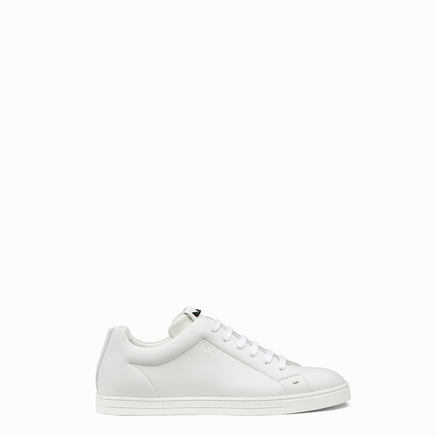 FENDI SNEAKER - White leather lace-ups - view 1 detail
