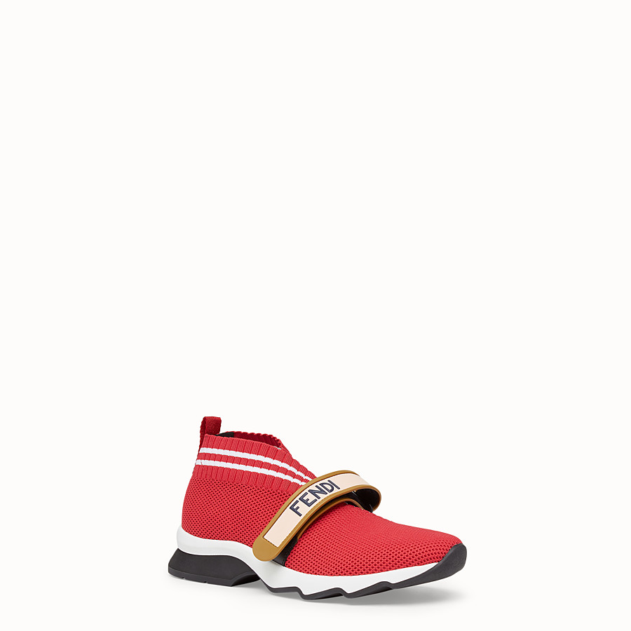 FENDI SNEAKERS - Red fabric sneakers - view 2 detail