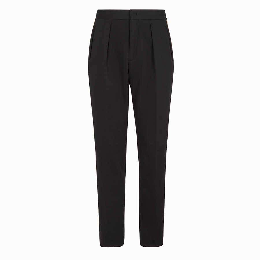 FENDI TROUSERS - Black jersey trousers - view 1 detail