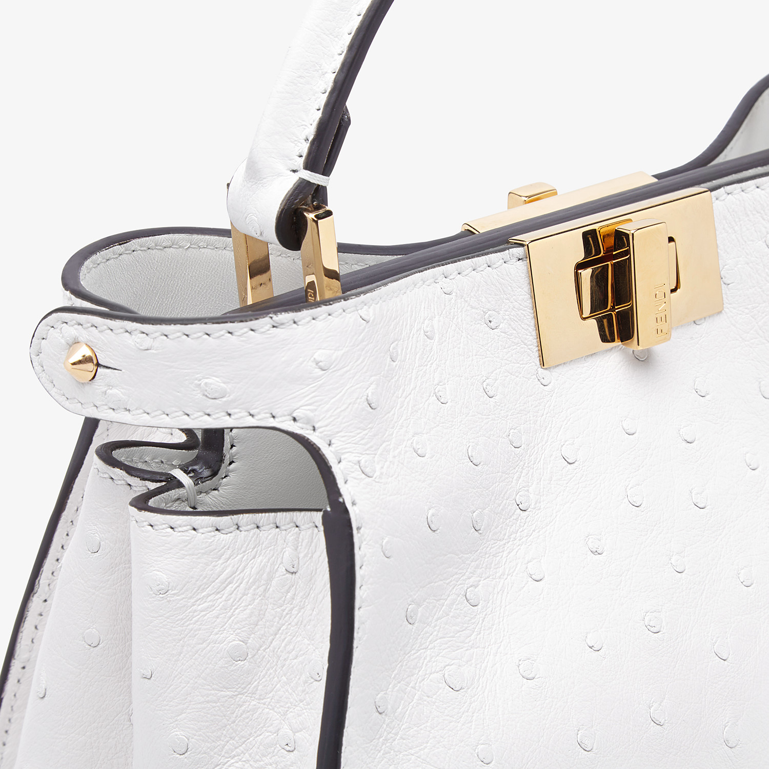 FENDI PEEKABOO ICONIC ESSENTIALLY - White ostrich leather bag - view 5 detail
