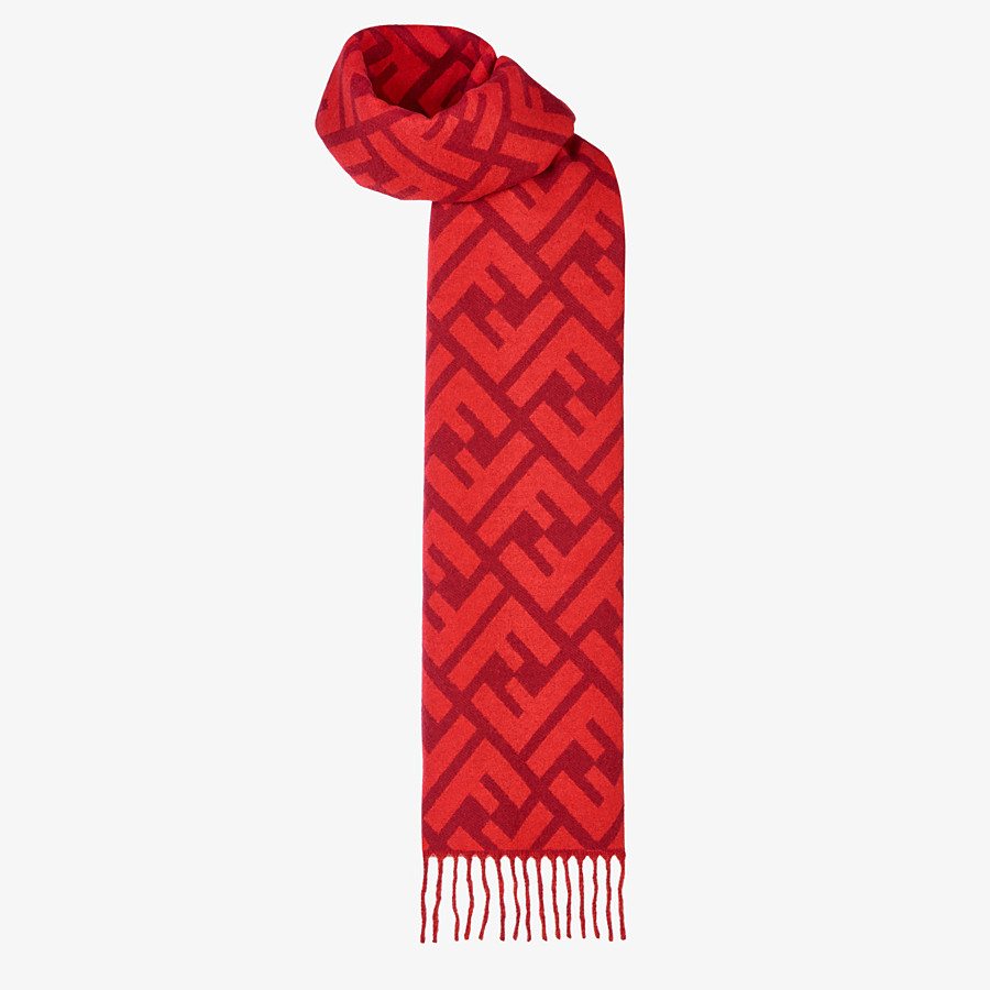 FENDI FF SCARF - Red cashmere scarf - view 2 detail