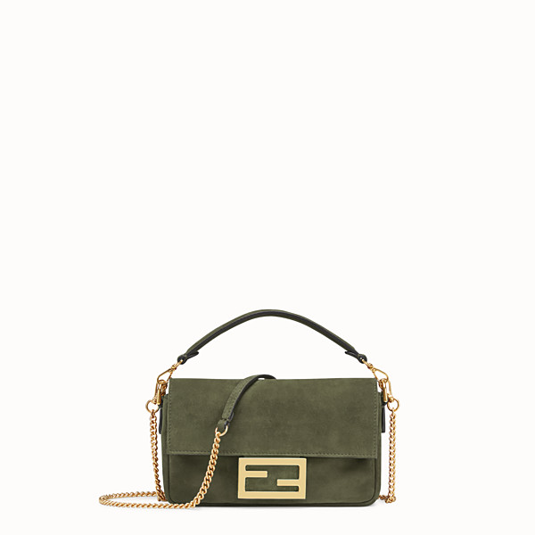 FENDI MINI BAGUETTE - Green suede bag - view 1 small thumbnail