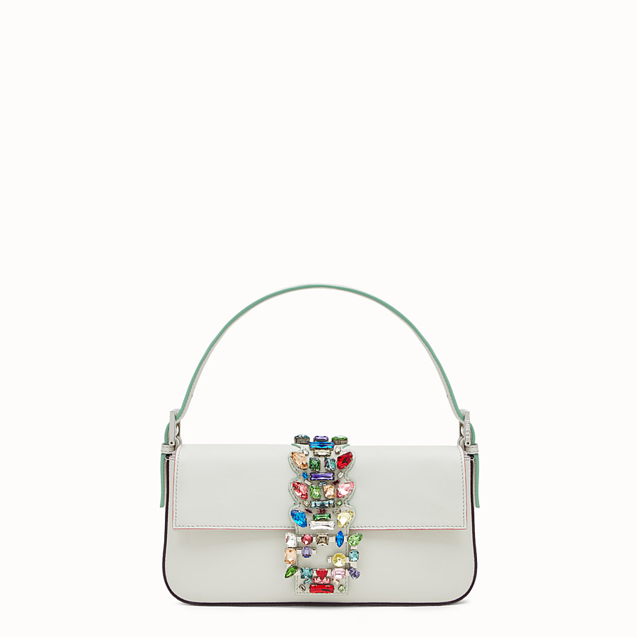 FENDI BAGUETTE - white leather shoulder bag with rhinestones - view 1 detail