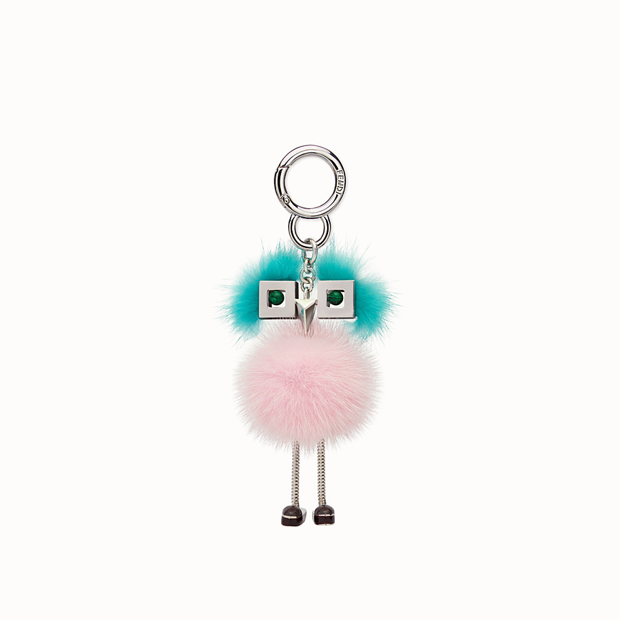 FENDI CHICK BAG CHARM - Charm in pink and light blue fur - view 2 detail