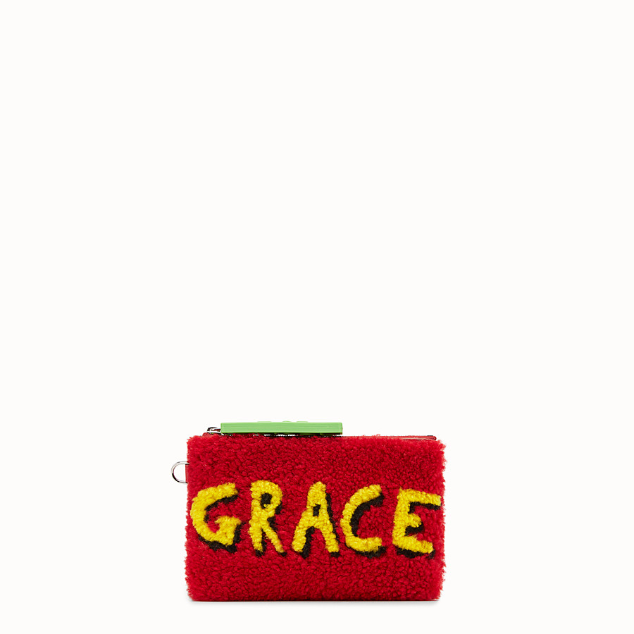 FENDI POUCH - Red shearling flat pouch - view 1 detail