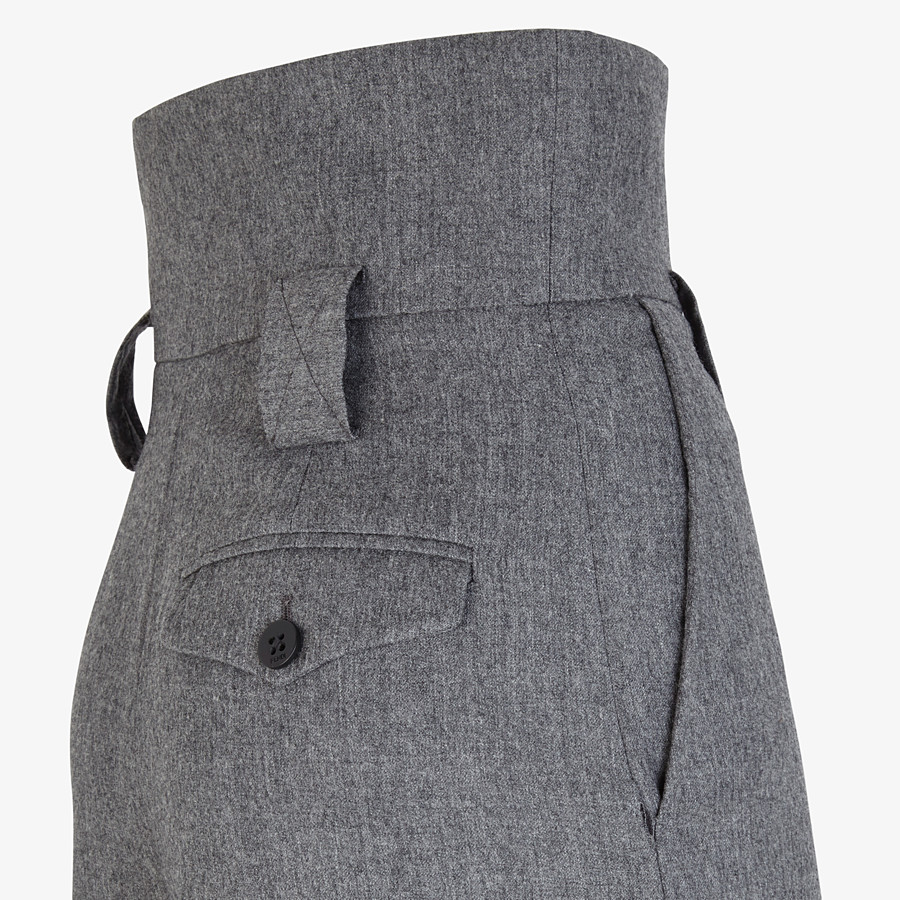 FENDI TROUSERS - Grey flannel trousers - view 3 detail