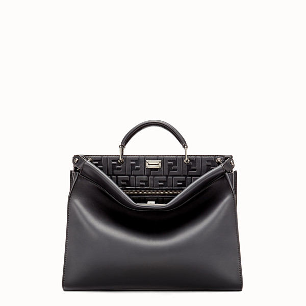FENDI PEEKABOO ICONIC FIT - Black leather bag - view 1 small thumbnail