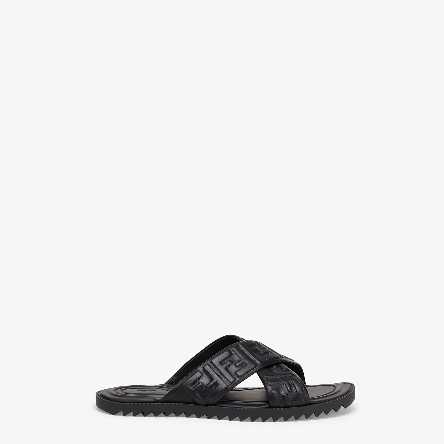 FENDI SANDALS - Black leather slides - view 1 detail
