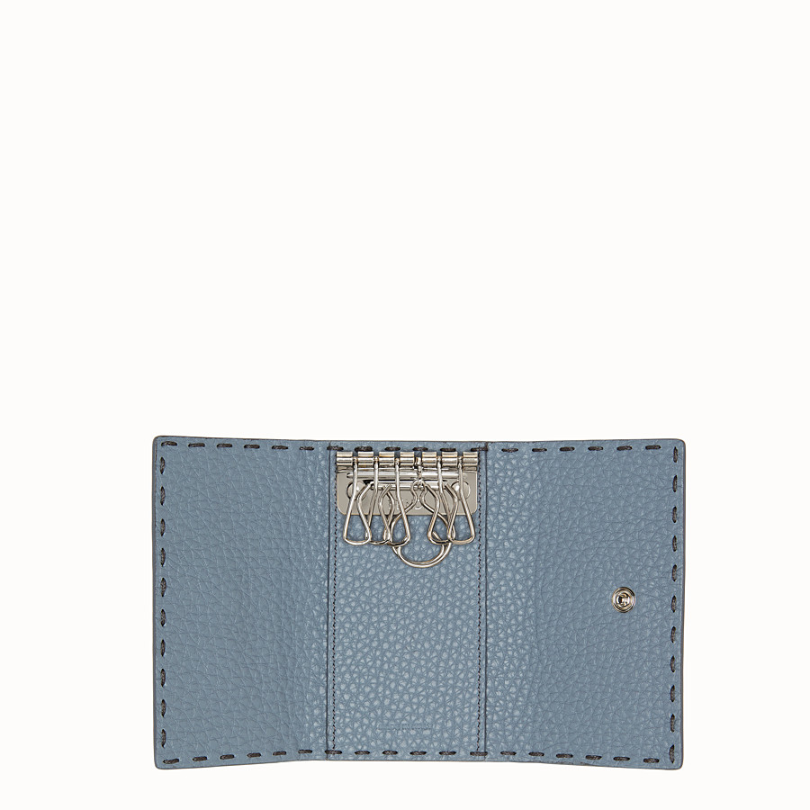FENDI KEY RING - Pale blue leather key ring - view 4 detail