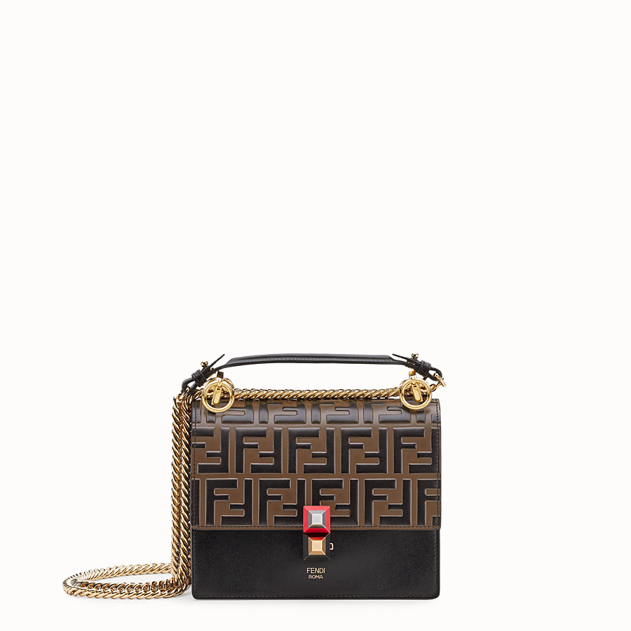 FENDI KAN I SMALL - Black leather mini-bag - view 1 detail