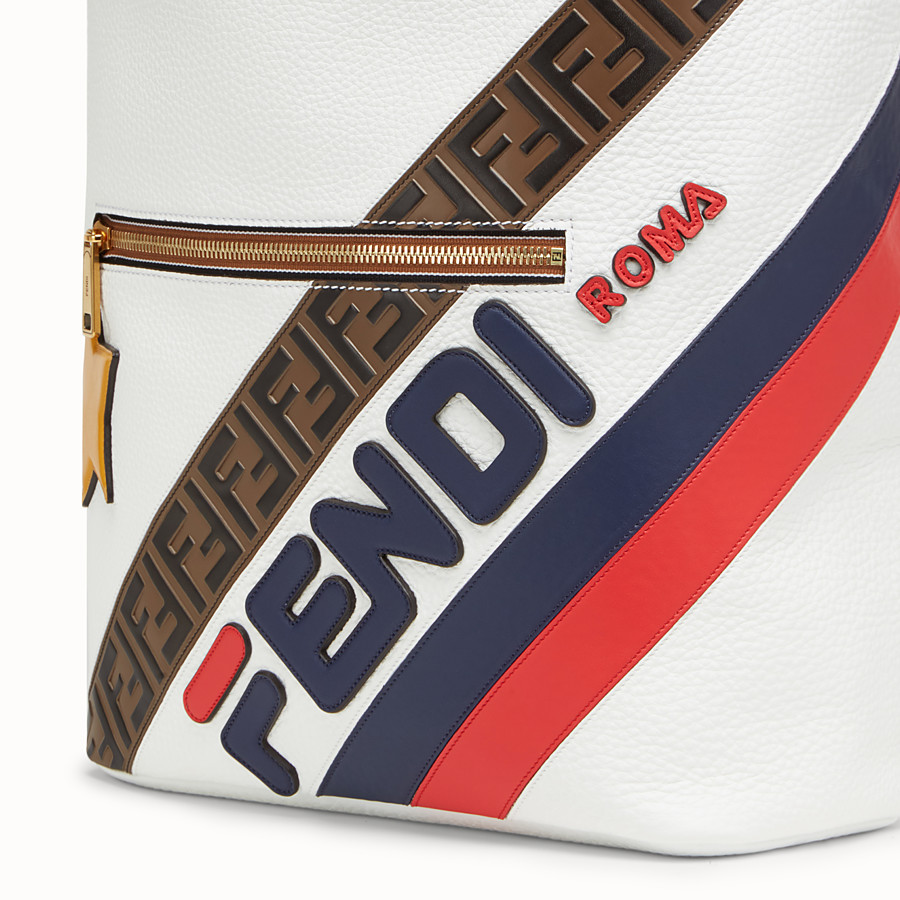 FENDI BACKPACK - White leather backpack. - view 4 detail