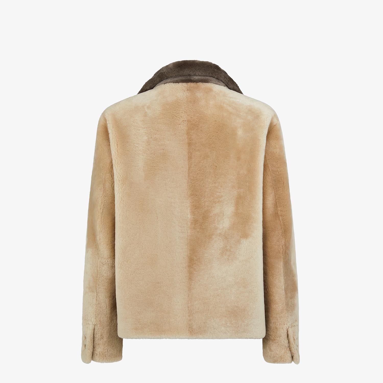 FENDI BLOUSON JACKET - Beige shearling jacket - view 2 detail