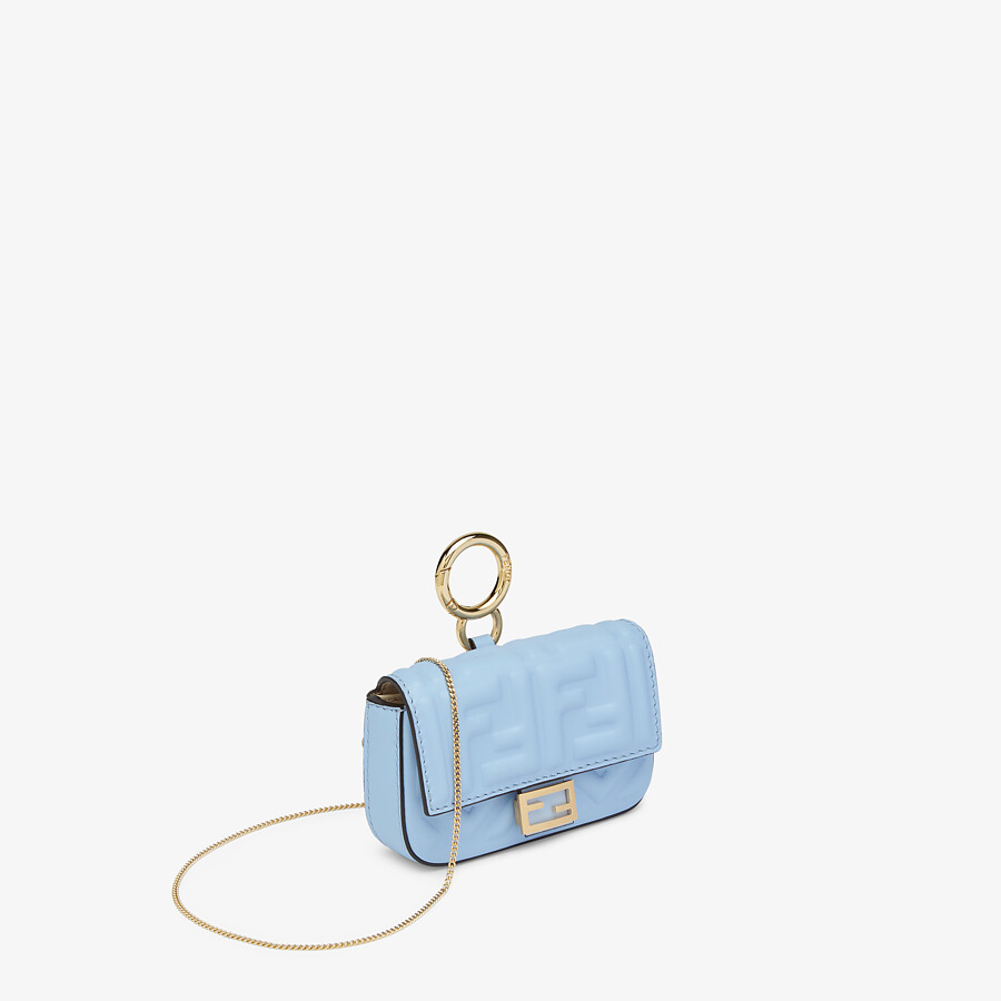 FENDI NANO BAGUETTE CHARM - Light blue nappa leather charm - view 2 detail