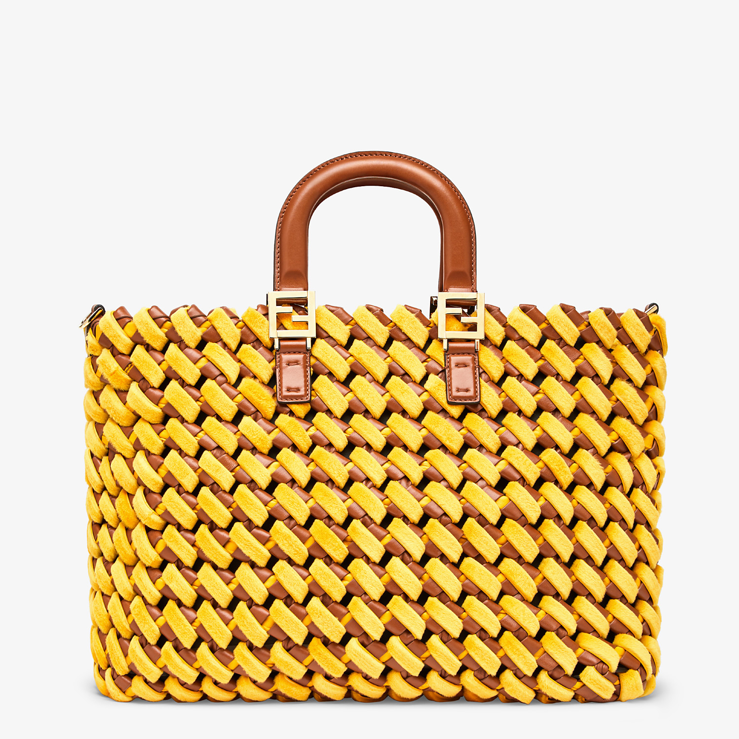 FENDI FF TOTE LARGE - Yellow mink and nappa leather bag - view 4 detail