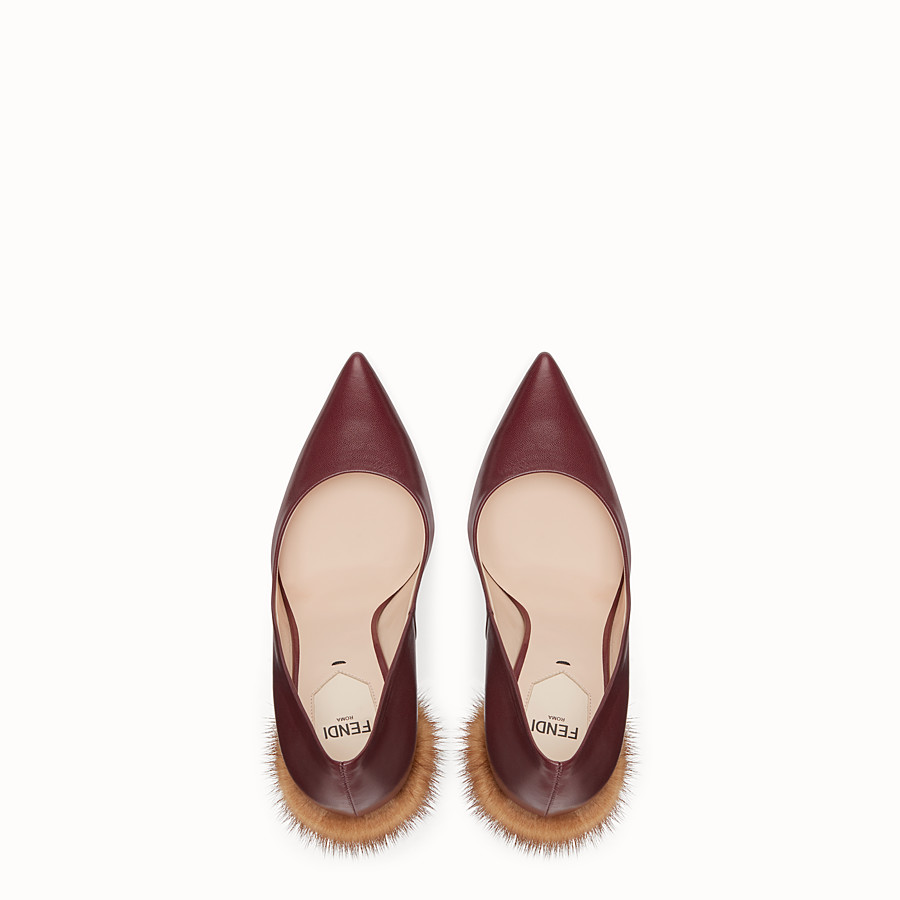FENDI PUMPS - Burgundy leather court shoes - view 4 detail