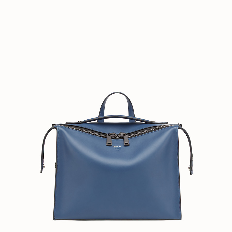 FENDI MESSENGER - Smooth blue leather handbag - view 1 detail