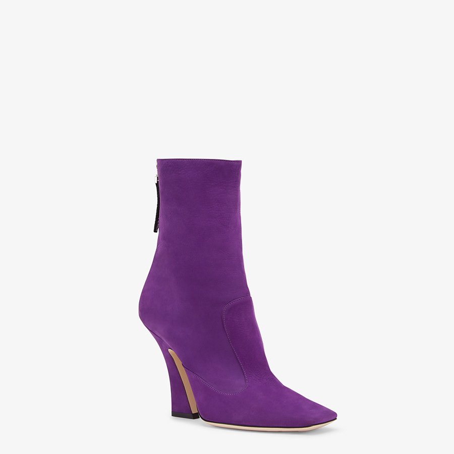 FENDI ANKLE BOOTS - Purple nubuck booties - view 2 detail