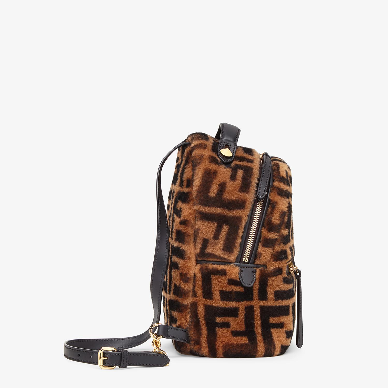 FENDI MINI BACKPACK - Small backpack in brown sheepskin - view 3 detail