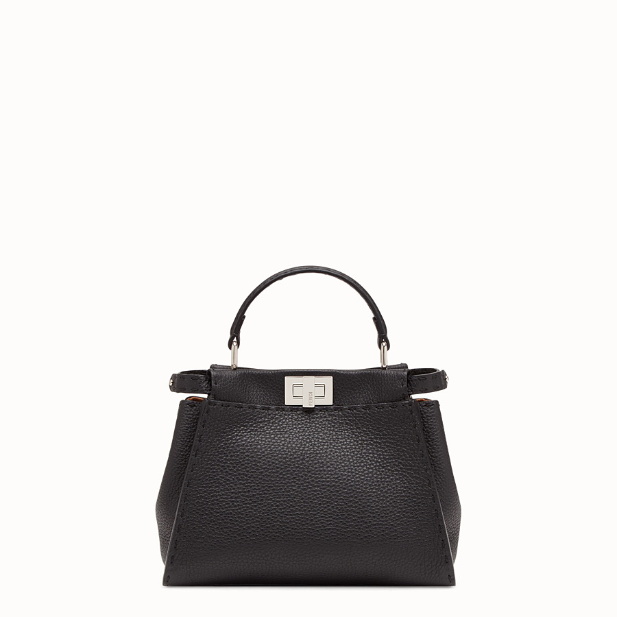 FENDI PEEKABOO MINI - Black leather bag - view 3 detail