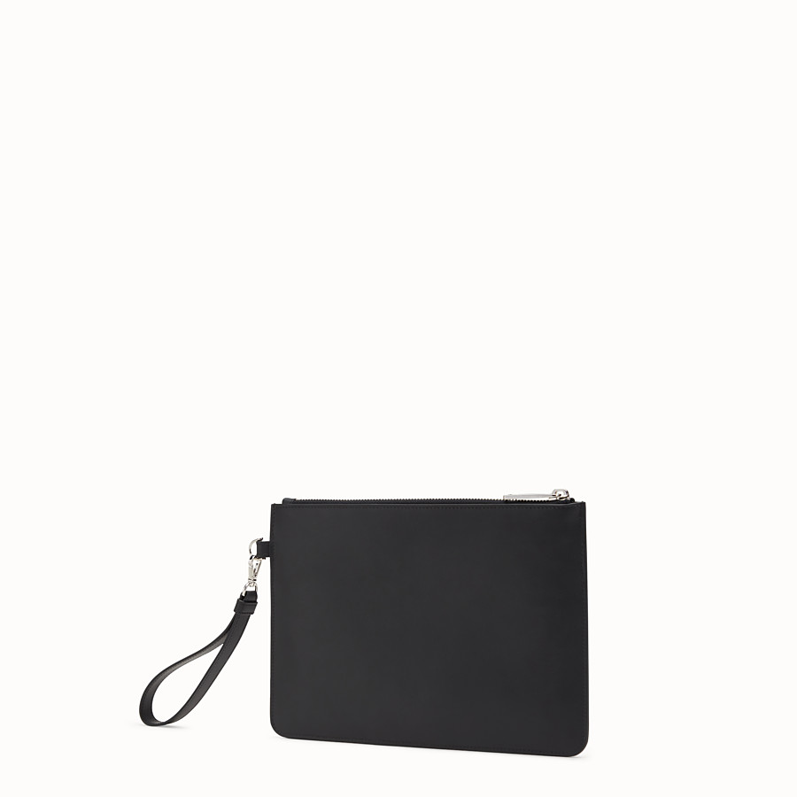 FENDI POUCH - Smooth black leather pouch - view 2 detail