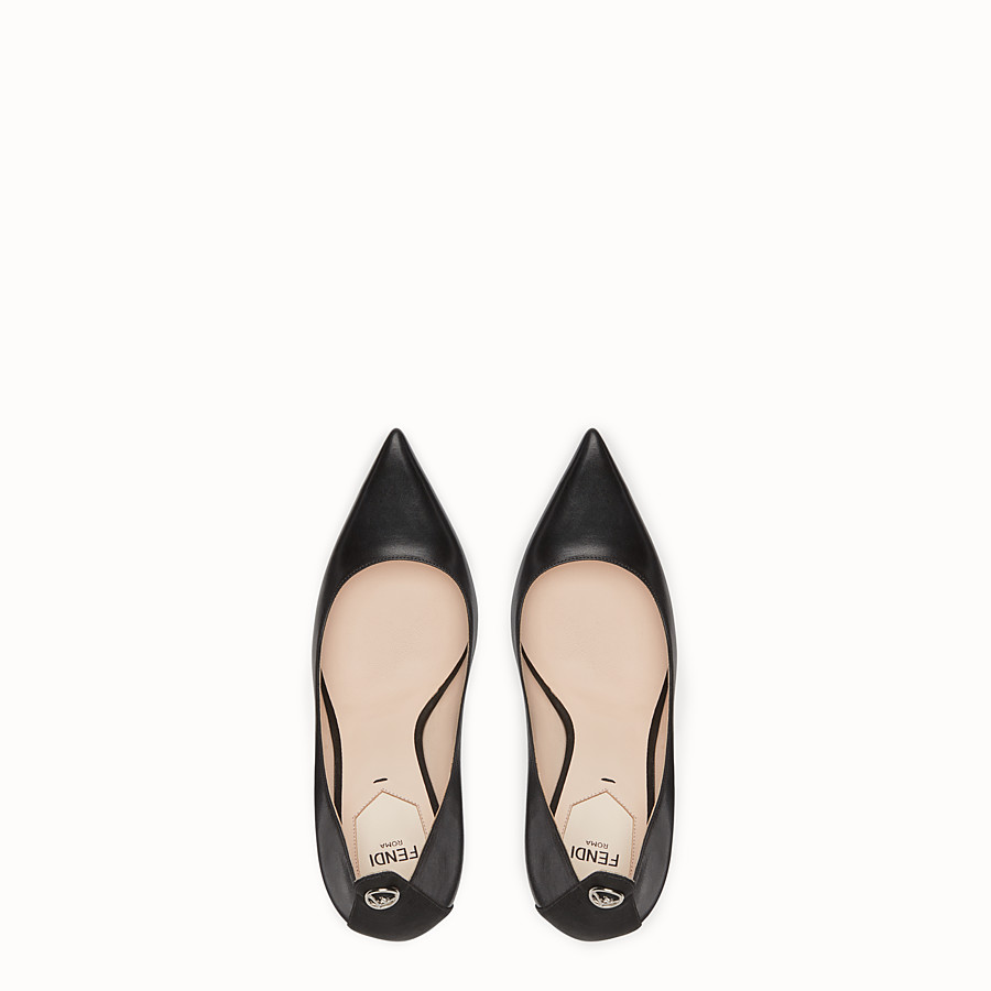 FENDI COURT SHOES - Black leather court shoes - view 4 detail