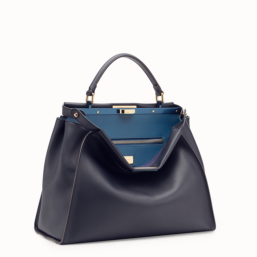 FENDI PEEKABOO LARGE - Blue leather bag - view 2 detail