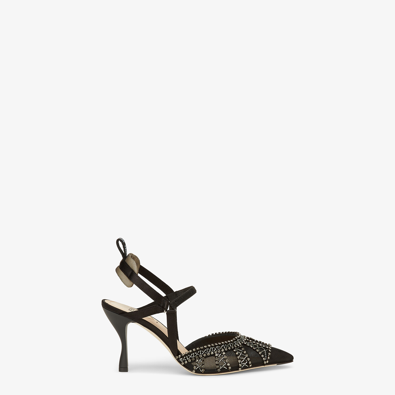 FENDI COLIBRI LITE - Black micromesh high-heeled slingbacks - view 1 detail