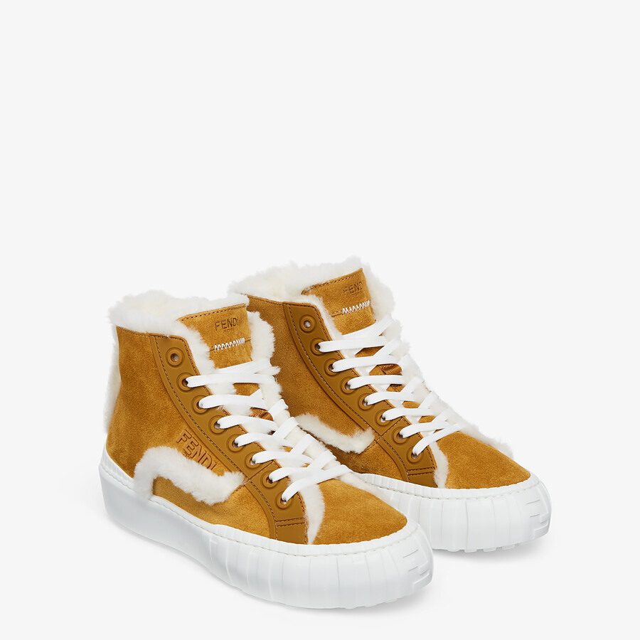 FENDI FENDI FORCE - Yellow suede high-tops - view 4 detail