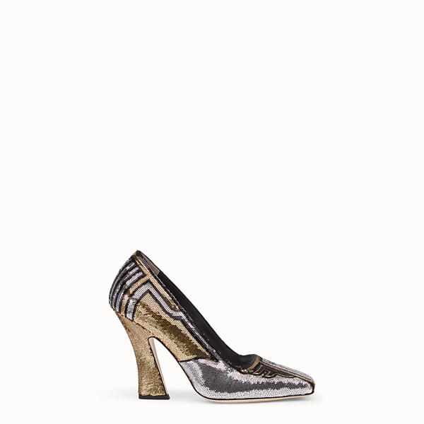 FENDI PUMPS - Pumps in gold-colored sequins - view 1 small thumbnail