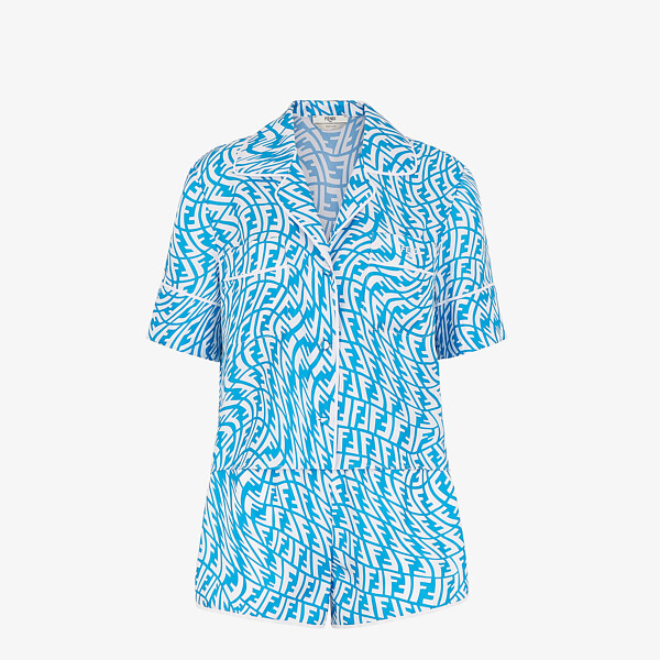 Ensemble pyjama en soie bleu clair
