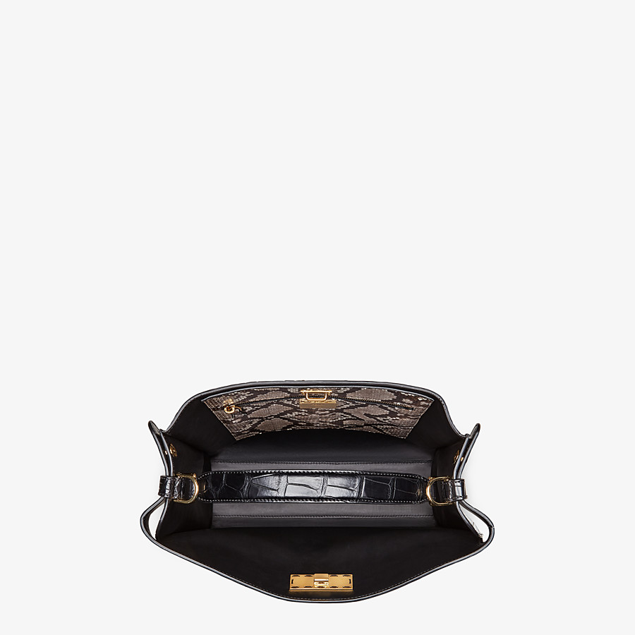 FENDI PEEKABOO X-LITE FIT - Black alligator leather bag - view 5 detail