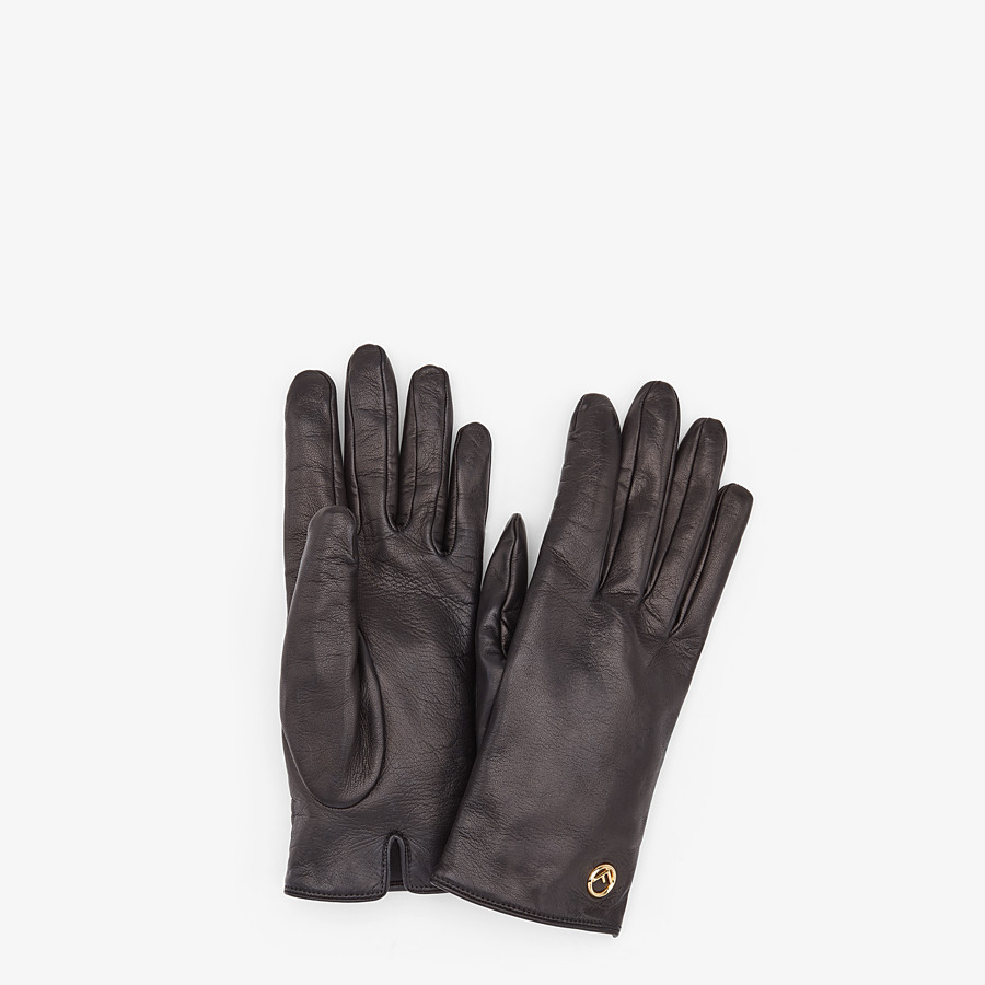 FENDI GLOVES - Black nappa leather gloves - view 1 detail