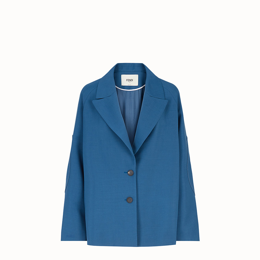 FENDI JACKE - Jacke aus Mohair in Blau - view 1 detail