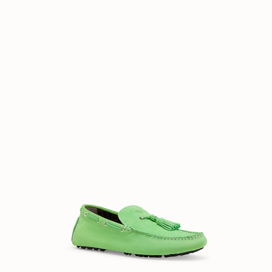 FENDI LOAFERS - Green leather drivers - view 2 detail
