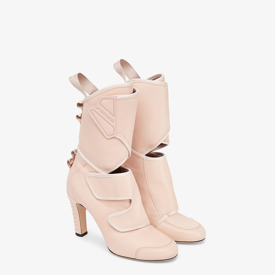 FENDI ANKLE BOOTS - Pink leather Promenade Booties - view 4 detail