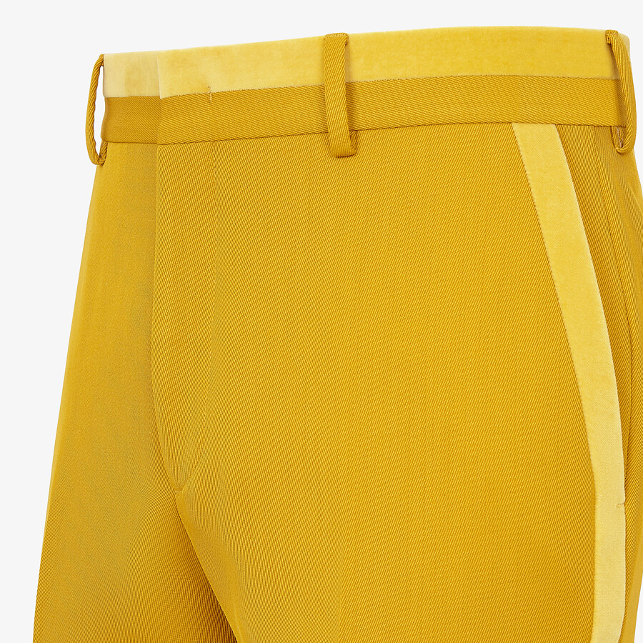 FENDI PANTS - Yellow wool pants - view 3 detail