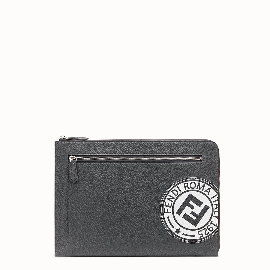 FENDI DOCUMENT CASE - Grey leather clutch - view 1 detail
