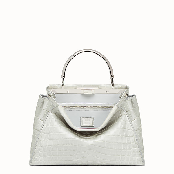 FENDI PEEKABOO REGULAR - Pearl grey crocodile leather handbag. - view 1 small thumbnail