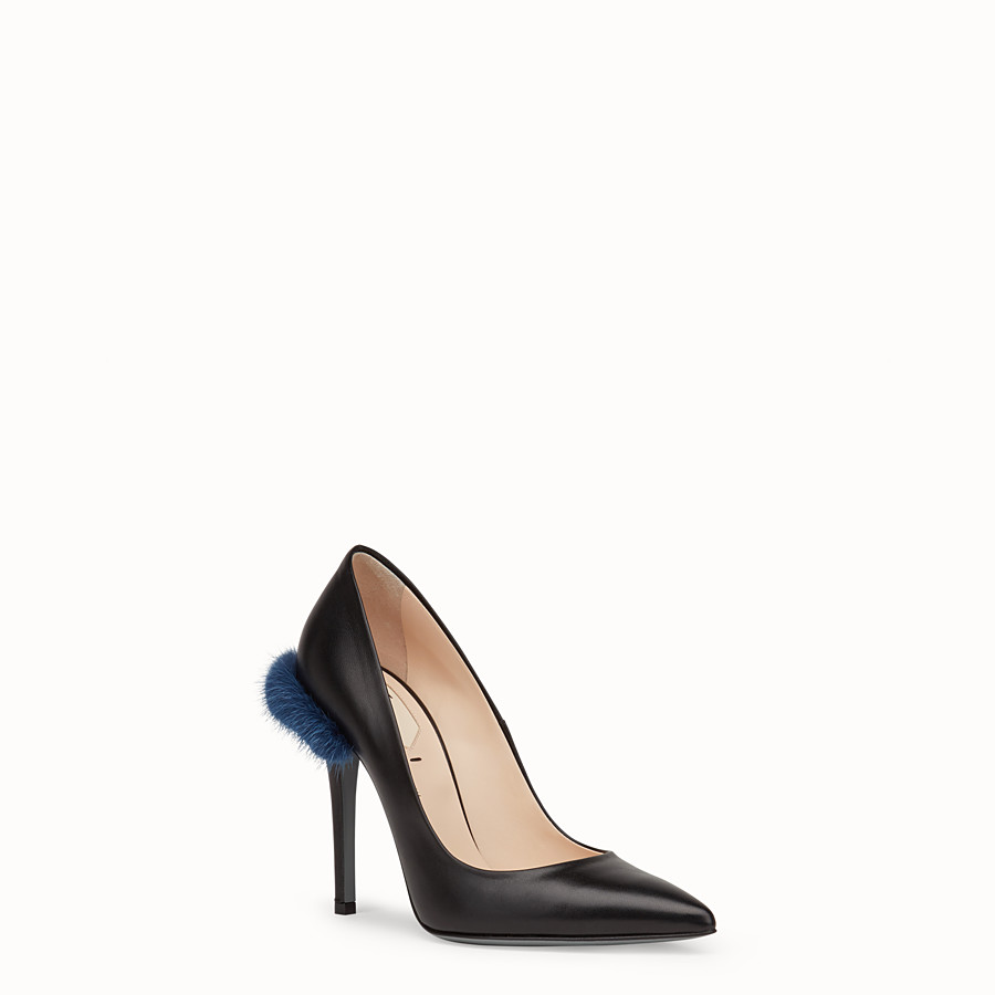 FENDI PUMPS - Black leather court shoes - view 2 detail