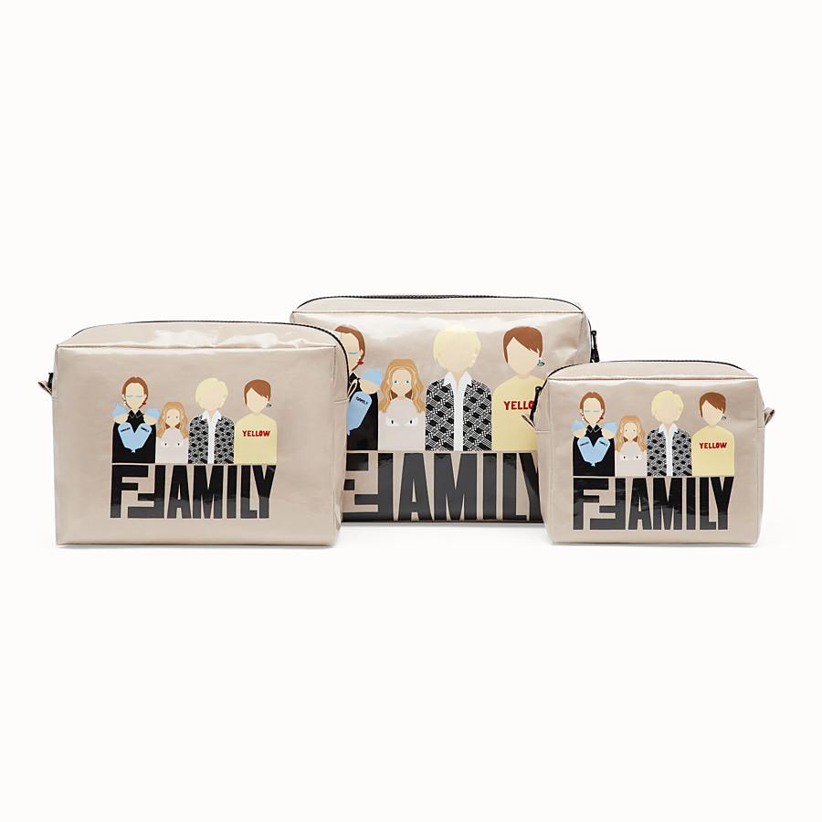 FENDI BEAUTY CASE - Kit di beautycase in nylon plastificato e jersey beige - vista 1 dettaglio