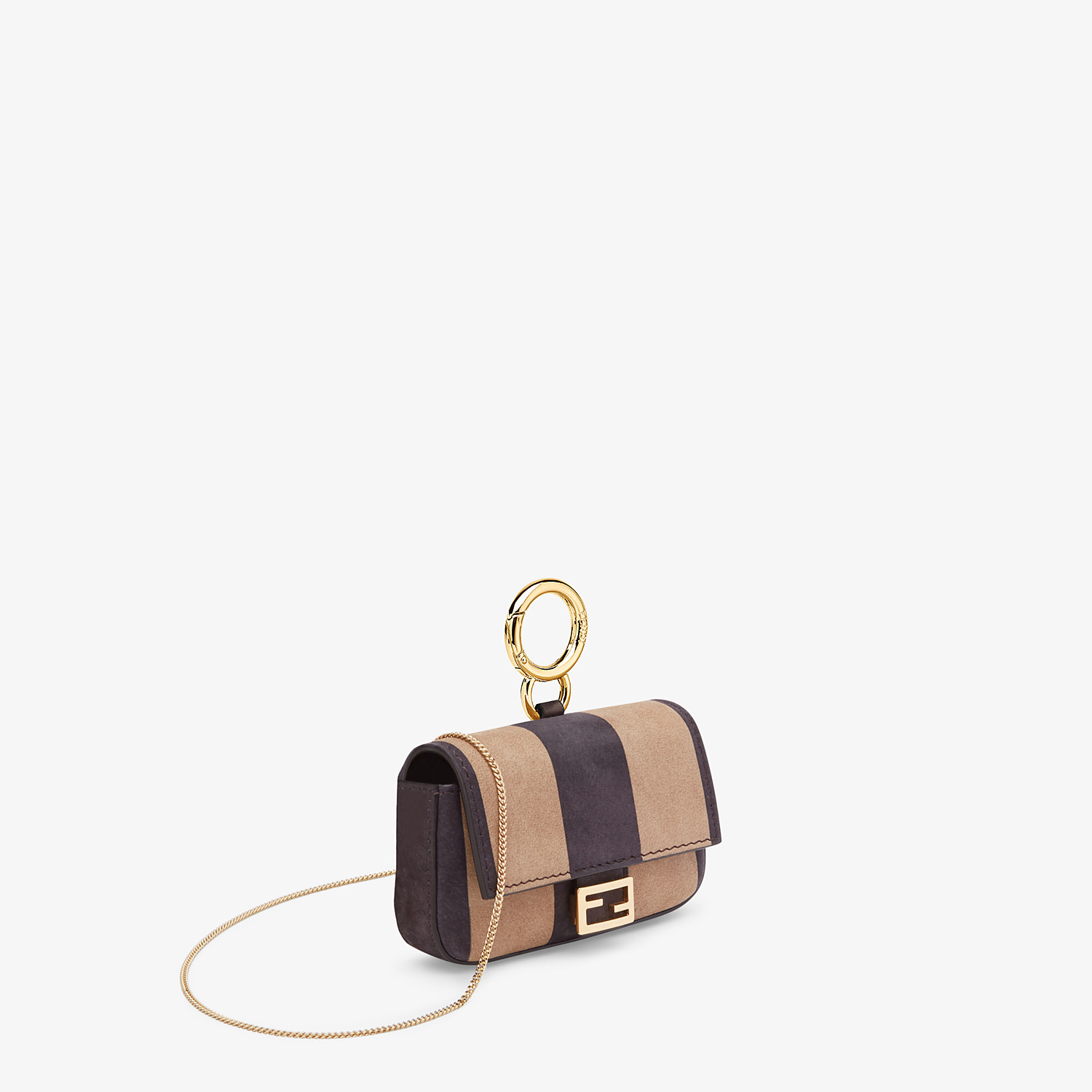FENDI NANO BAGUETTE - Charm in brown nubuck leather - view 2 detail