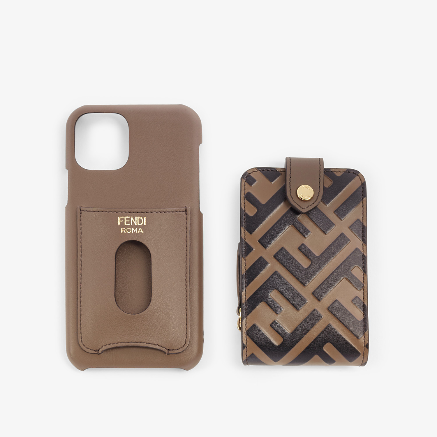 FENDI SMARTPHONE CASE - Brown leather cover - view 3 detail